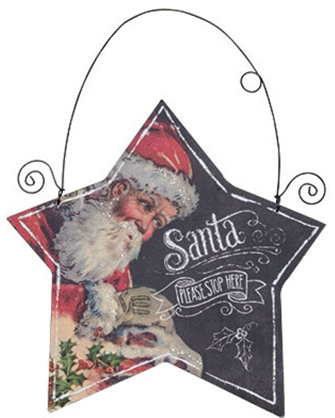 Santa Star Hanging Sign