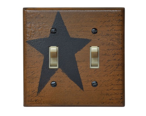 Black Star Switchplate Cover - Double