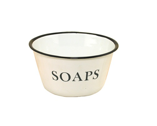 Enamelware Soaps Bowl with Black Trim