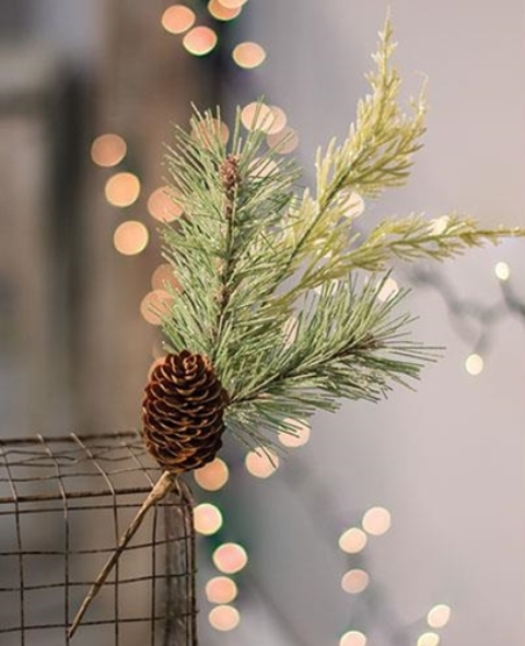 Glittered Mixed Pine Pick W/Cone-Glittered Mixed Pine Pick WCone