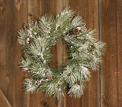 Flocked Pine Wreath WIth Pinecones-Flocked Pine Wreath WIth Pinecones