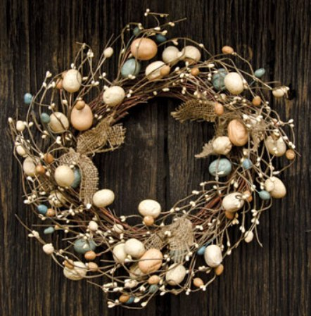Burlap Eggs & Pips Wreath - 16 Inch