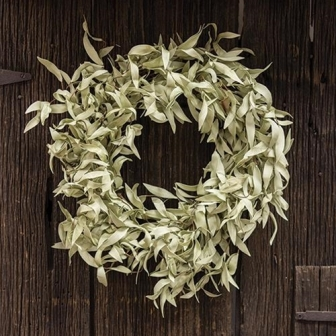 "Flocked Leaves Wreath, 24""-Flocked Leaves Wreath, 24"