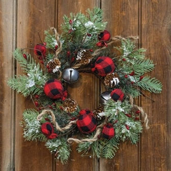 "Buffalo Gingham Country Holiday Wreath, 12""-Buffalo Gingham Country Holiday Wreath, 12"