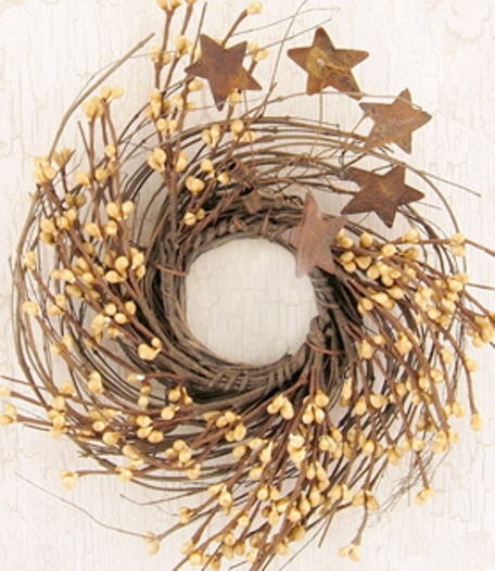 Old Gold Pip & Star Twig Wreath - 10 In-Old Gold Pip  Star Twig Wreath - 10 In