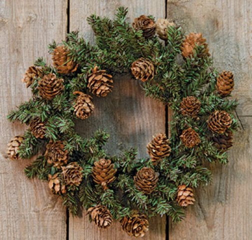 Pine Wreath With Cones, 9 Inch