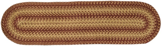 Burgundy-Tan Braided Oval Runner-Burgundy-Tan Braided Oval Runner