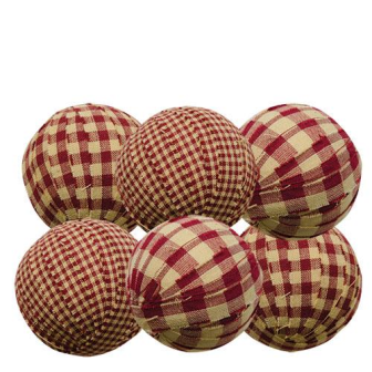 "6/Set, Burgundy Rag Balls, 2.25""-6Set, Burgundy Rag Balls, 2.25"