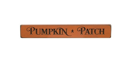 "Pumpkin Patch Engraved Block, Orange, 12""-Pumpkin Patch Engraved Block, Orange, 12"