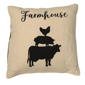 Stacked Farmhouse Animals Pillow, 10x10-Stacked Farmhouse Animals Pillow, 10x10