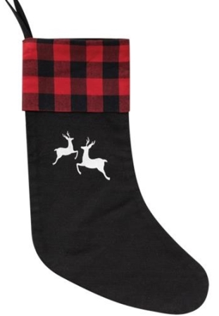 Red Buffalo Check Reindeer Stocking-Red Buffalo Check Reindeer Stocking