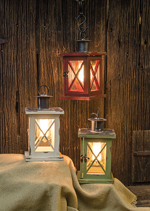 Electric Wood Lantern W/Edison Bulb, 3 Asst-Electric Wood Lantern WEdison Bulb, 3 Asst