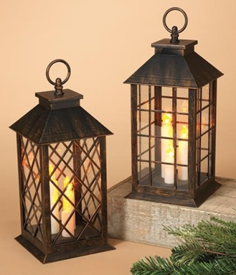 Battery Operated Brushed Finish Trio Lantern, 2 Asstd.-Battery Operated Brushed Finish Trio Lantern, 2 Asstd.