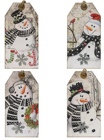 Christmas Tag Plaque, 4 Asst-Christmas Tag Plaque, 4 Asst