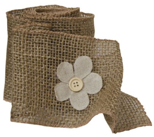 Burlap Flower Ribbon 6 Foot-Burlap Flower Ribbon