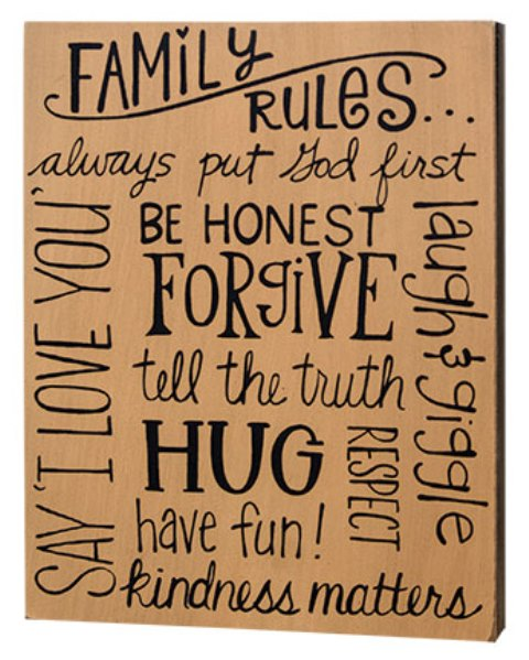 Family Rules Box Sign-Family Rules Box Sign