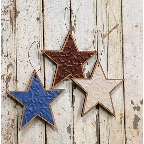 Embossed Patriotic Star Ornament, 3 asstd.-Embossed Patriotic Star Ornament, 3 asstd.