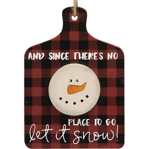 Let It Snow Cutting Board Ornament, 3 asstd. Sold Individually Not As A Set-Let It Snow Cutting Board Ornament, 3 asstd. Sold Individually Not As A Set