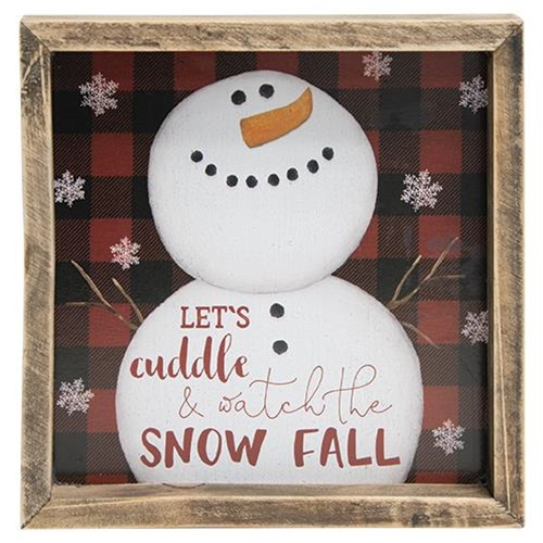 Watch the Snow Fall Framed Buffalo Check Sign, 3 asstd.-Watch the Snow Fall Framed Buffalo Check Sign, 3 asstd.
