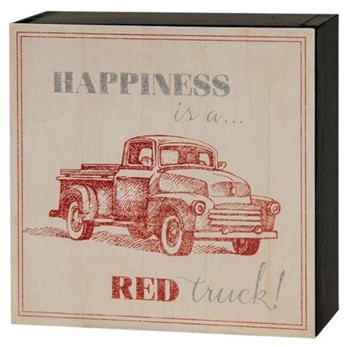 Happiness is a Red Truck Sign-Happiness is a Red Truck Sign