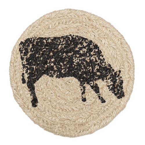 6/Set, Sawyer Mill Charcoal Cow Jute Coasters-6Set, Sawyer Mill Charcoal Cow Jute Coasters