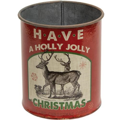 Holly Jolly Christmas Metal Can-Holly Jolly Christmas Metal Can