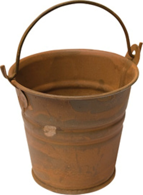 Rusty Tin Bucket - 2.25 Inch-Rusty Tin Bucket - 2-1/4 Inch Tall