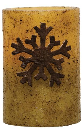 Wooden Snowflake Pillar Candle-Wooden Snowflake Pillar Candle