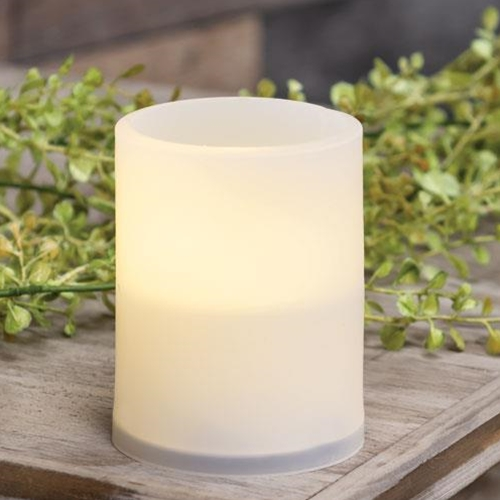 Warm Light White Timer Pillar Candle, 3x4-Warm Light White Timer Pillar Candle, 3x4