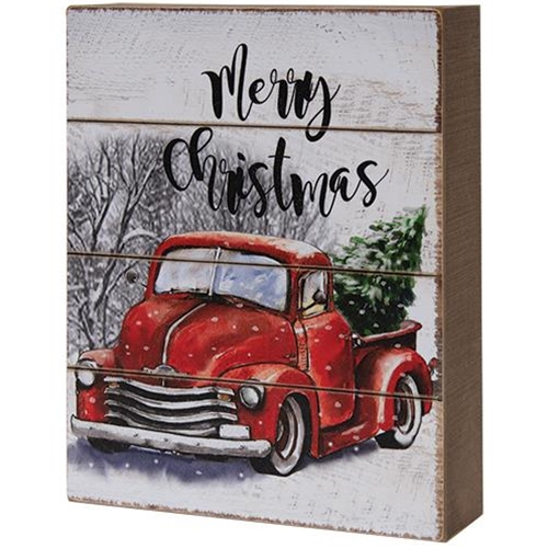 Merry Christmas Red Truck Box Sign-Merry Christmas Red Truck Box Sign