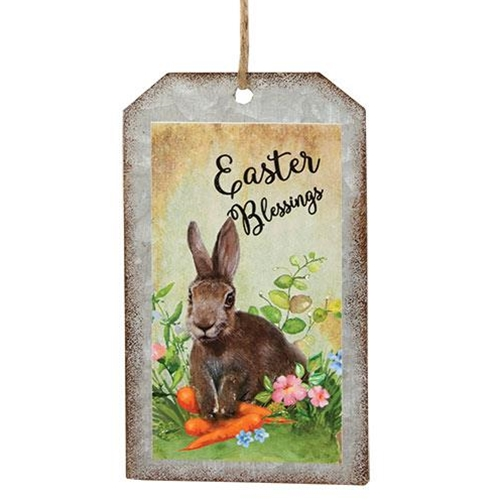Easter Blessings Bunny Metal Tag Ornament-Easter Blessings Bunny Metal Tag Ornament