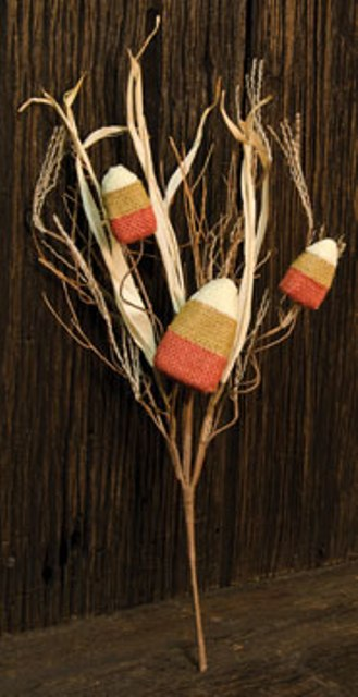 Burlap Candy Corn Pick-Burlap Candy Corn Pick