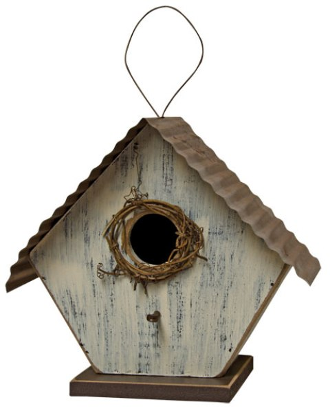Birdhouse With Metal Roof - Ivory