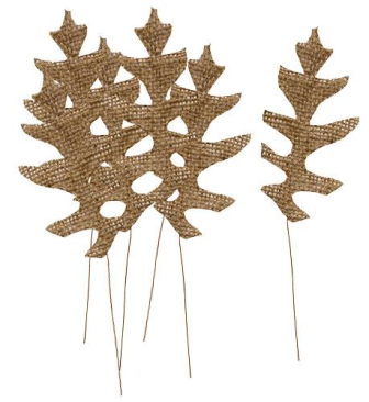 Burlap Natural Leaves - Set of 6