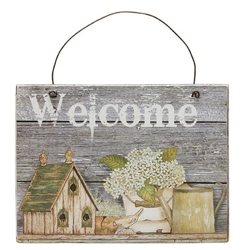 Bird House, Flowers Welcome Sign-Bird House, Flowers Welcome Sign