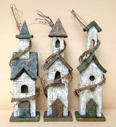 Rustic Bird House w/Grapevine Accent - Assorted Designs-Rustic Bird House wGrapevine Accent - Assorted Designs