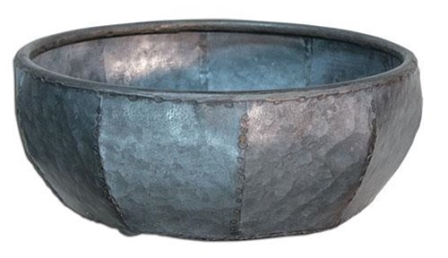 "Hammered Tin Bowl, 10""-Hammered Tin Bowl, 10"