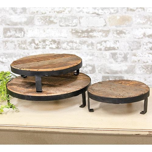 3/Set, Weathered Wood and Metal Round Risers-3Set, Weathered Wood and Metal Round Risers