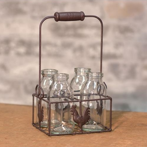 4 Bottles W/ Wire Rooster Carrier-4 Bottles W Wire Rooster Carrier