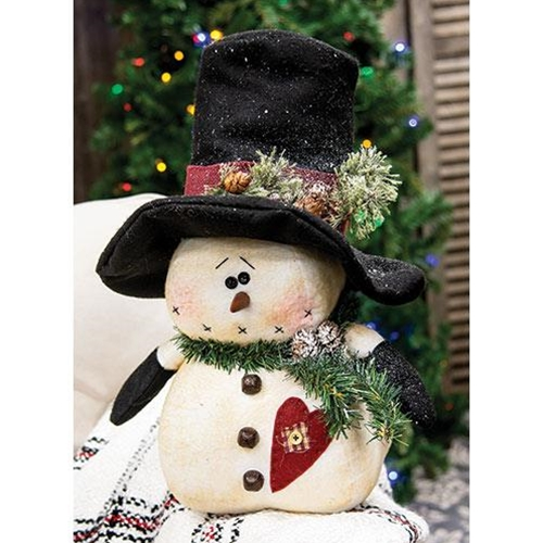 Chubby Top Hat Snowman With Heart-Chubby Top Hat Snowman With Heart