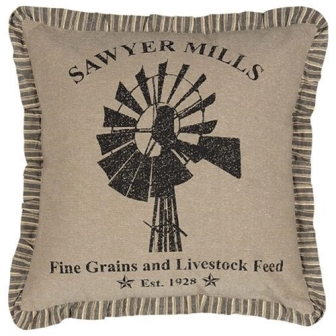 "Sawyer Mill Charcoal Windmill Pillow, 18"" x 18""-Sawyer Mill Charcoal Windmill Pillow, 18 x 18"