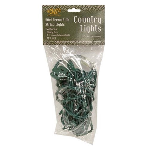 Teeny Lights, Green Cord, 50ct-Teeny Lights, Green Cord, 50ct