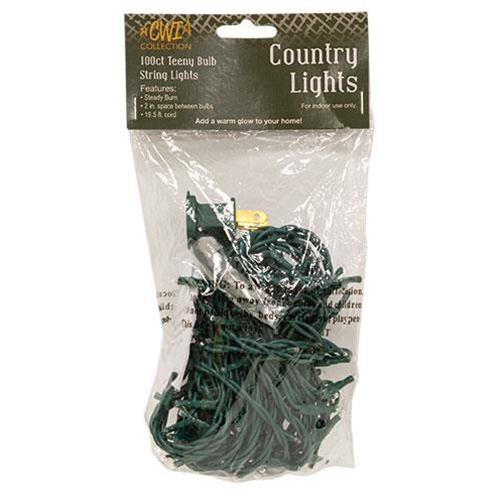 Teeny Lights, Green Cord, 100ct-Teeny Lights, Green Cord, 100ct